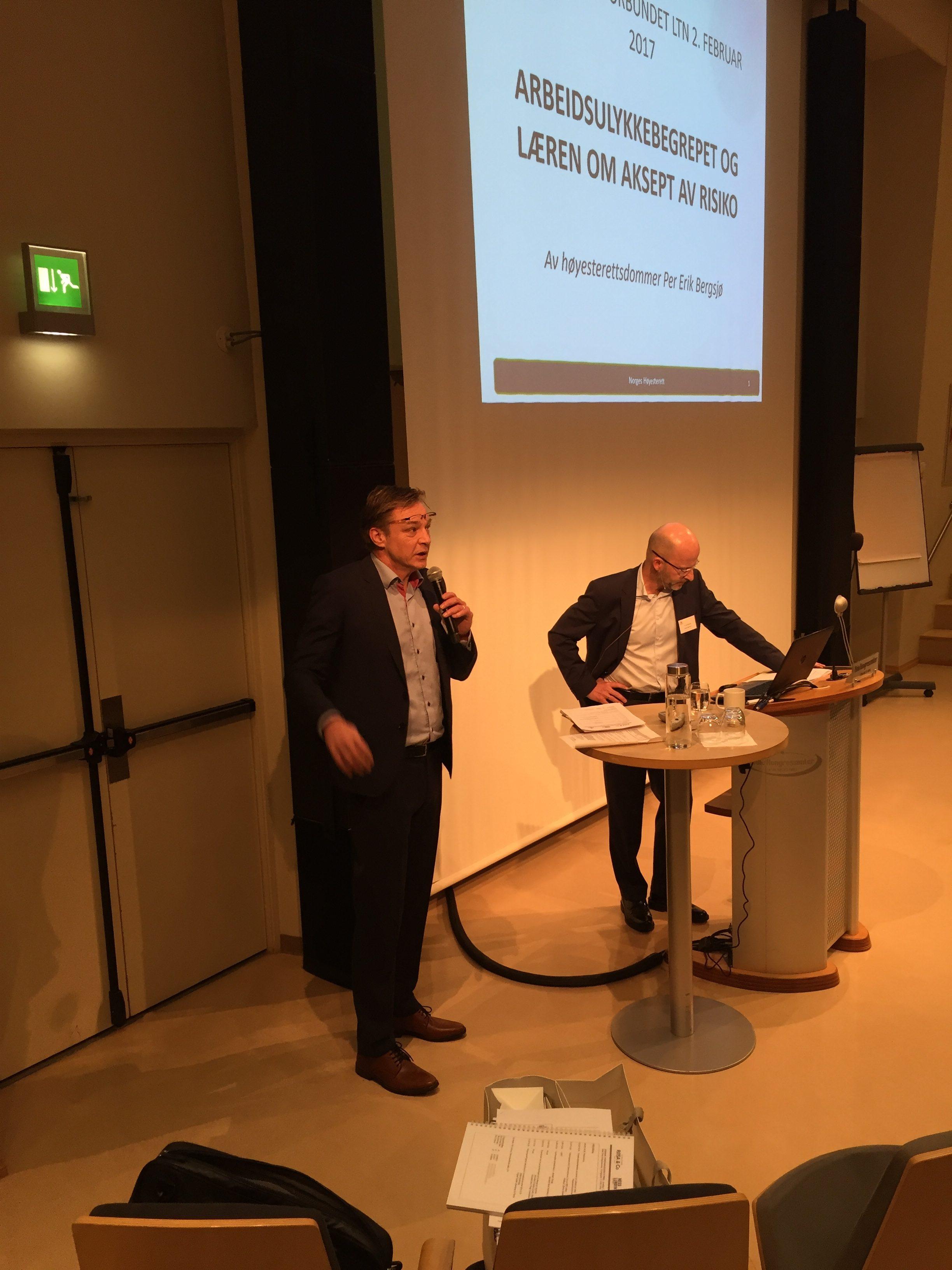 Høyesterettsdommer Per Erik Bergsjø og assisterende generalsekretær i Personskadeforbundet LTN Per Oretorp